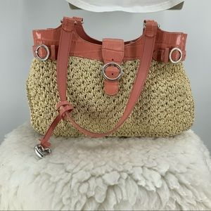 Brighton straw and leather shoulder purse